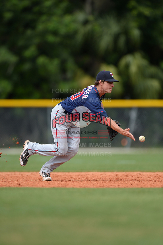 Minnesota Twins infielder Ryan Walker (20) during practice before a minor league spring training game against the Baltimore Orioles on March 20, 2014 at the Buck O'Neil Complex in Sarasota, Florida.  (Mike Janes/Four Seam Images)