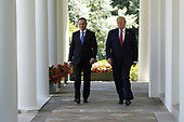 US President Donald J. Trump (R) with Polish President Andrzej Duda (L) arrive to a joint press conference in the Rose Garden of the White House in Washington, DC, USA, 12 June 2019. Earlier President Trump and President Duda signed an agreement to increase military to military cooperation including the purchase of F-35 fighter jets by Poland and an increased US troop presence in Poland. <br /> Credit: Shawn Thew / Pool via CNP