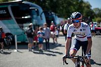 Slovenian champion Domen Novak (SLO/Bahrain Merida) at the start<br /> <br /> Stage 11: Saint-Palais to Urdax-Dantxarinea (180km in The Basque Country > FRA & ESP) <br /> La Vuelta 2019<br /> <br /> ©kramon