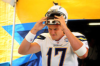Sep. 20, 2009; San Diego, CA, USA; San Diego Chargers quarterback (17) Phillip Rivers against the Baltimore Ravens at Qualcomm Stadium in San Diego. Baltimore defeated San Diego 31-26. Mandatory Credit: Mark J. Rebilas-