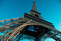View of Eiffel Tower looking up from beneath, Paris, France