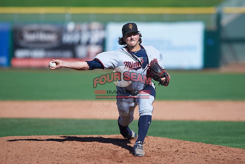 Surprise Saguaros relief pitcher Tom Hackimer (50), of the Minnesota Twins organization, delivers a pitch to the plate during an Arizona Fall League game against the Scottsdale Scorpions on October 27, 2017 at Scottsdale Stadium in Scottsdale, Arizona. The Scorpions defeated the Saguaros 6-5. (Zachary Lucy/Four Seam Images)