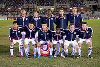The United States lines up during the finals of the CONCACAF Men's Under 17 Championship at Catherine Hall Stadium in Montego Bay, Jamaica. The United States defeated Canada, 3-0, in overtime
