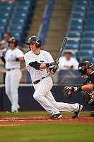 Tampa Yankees left fielder Zack Zehner (36) at bat during a game against the Bradenton Marauders on April 11, 2016 at George M. Steinbrenner Field in Tampa, Florida.  Tampa defeated Bradenton 5-2.  (Mike Janes/Four Seam Images)