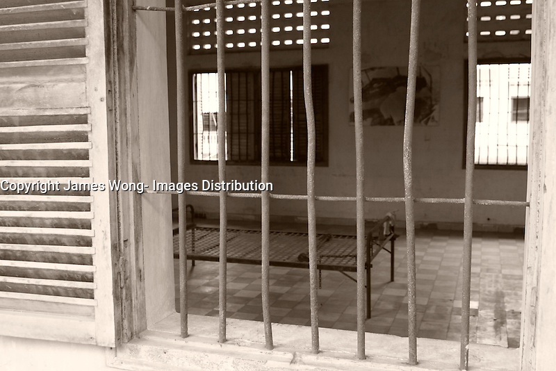 Phnom Penh,Cambodia - 2007 File Photo -<br /> <br /> torture rooms at Tuol Sleng, former Khmer Rouge S-21 prison.<br /> <br /> The Tuol Sleng Genocide Museum is a museum in Phnom Penh, capital of Cambodia. The site is a former high school which was used as the notorious Security Prison 21 (S-21) by the Khmer Rouge regime from its rise to power in 1975 to its fall in 1979. Tuol Sleng in Khmer means &quot;Hill of the Poisonous Trees&quot; or &quot;Strychnine Hill&quot;.<br /> <br /> photo : James Wong-  Images Distribution