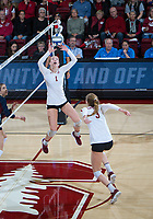 STANFORD, CA - December 1, 2018: Jenna Gray, Holly Campbell at Maples Pavilion. The Stanford Cardinal defeated Loyola Marymount 25-20, 25-15, 25-17 in the second round of the NCAA tournament.