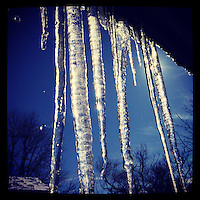 Icicles melt in the sun on Ferry Street in New Hope, PA, February 10, 2013.