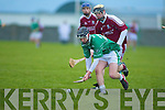 Jason Bowler(ballyduff) get to the ball before Jason Whyte(causeway) in the Acorn Life under 21 County Hurling Championship Final 2010 in Kilmoyley on Saturday..