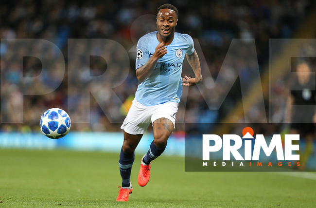 Raheem STERLING of Manchester City during the UEFA Champions League match between Manchester City and Olympique Lyonnais at the Etihad Stadium, Manchester, England on 19 September 2018. Photo by David Horn / PRiME Media Images.