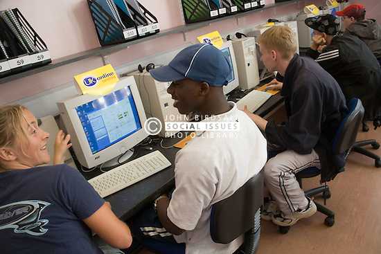 Group of Entry 2 Employment students working in computer suite; Sycamore Centre Nottingham,