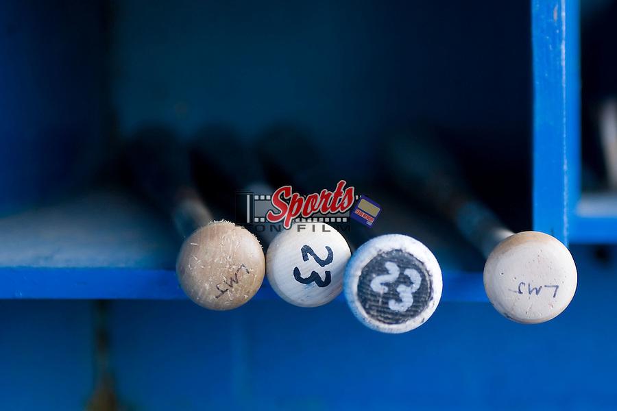 The bats of Orlando Santos (23) of the Bristol Sox sit in a bat rack at Burlington Athletic Park in Burlington, NC, Thursday, July 12, 2007.