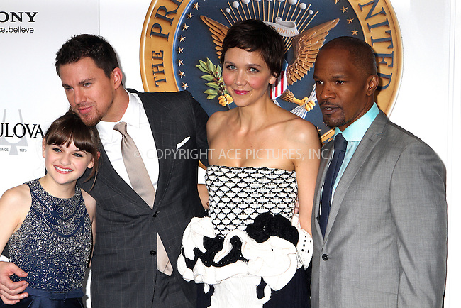WWW.ACEPIXS.COM<br /> <br /> June 25 2013, New York City<br /> <br /> Actors Joey King, Channing Tatum, Maggie Gyllenhaal, Jamie Foxx at the premiere of White House Down on June 25 2013 in New York City<br /> <br /> By Line: Nancy Rivera/ACE Pictures<br /> <br /> <br /> ACE Pictures, Inc.<br /> tel: 646 769 0430<br /> Email: info@acepixs.com<br /> www.acepixs.com