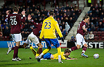 Hearts v St Johnstone...03.12.11   SPL .Murray Davidson is fouled by Eggert Jonsson for a penalty.Picture by Graeme Hart..Copyright Perthshire Picture Agency.Tel: 01738 623350  Mobile: 07990 594431