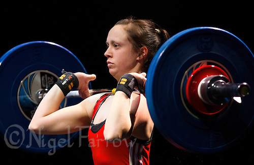 10 MAY 2014 - COVENTRY, GBR - Tiffany Brannan from Holyhead and Anglesey Weightlifting and Fitness Club attempts to complete a lift during the women's 58kg category round at the British 2014 Senior Weightlifting Championships and final 2014 Commonwealth Games qualifying event round at the Ricoh Arena in Coventry, Great Britain (PHOTO COPYRIGHT © 2014 NIGEL FARROW, ALL RIGHTS RESERVED)