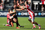 Saracens' Ben Ransom runs at the Gloucester defence - Rugby Union - 2014 / 2015 Aviva Premiership - Saracens vs. Gloucester - Allianz Park Stadium - London - 11/10/2014 - Pic Charlie Forgham-Bailey/Sportimage