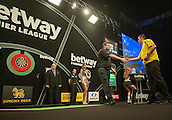 09.04.2015. Sheffield, England. Betway Premier League Darts. Matchday 10.  James Wade [ENG] shakes hands with Dave Chisnall [ENG] before their  match.