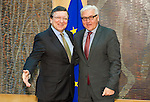 Brussels-Belgium - January 06, 2014 -- Frank-Walter STEINMEIER (ri), German Foreign Minister, travels to Brussels for his first official visit since returning to office and meets the top officials of the European institutions; here, with José (Jose) Manuel DURAO BARROSO (le), President of the European Commission, in the Berlaymont  / HQ of the EU-Commission -- Photo: © HorstWagner.eu