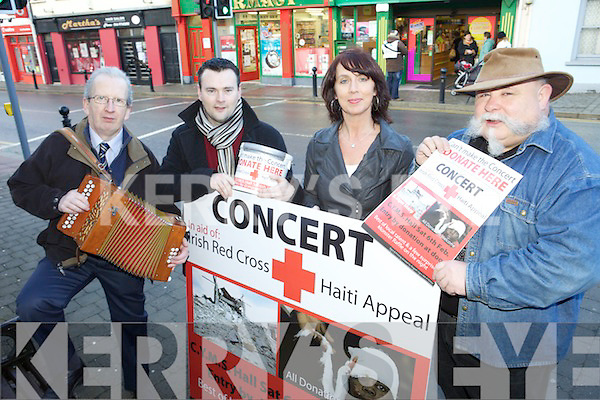 CONCERT: Some of the organisers of the concert at the CYMS Hall in Killorglin in aid of the Irish Red Cross Haiti Appeal, l-r: Mike Dowd, ???, Anne Coffey, Pat Healy.