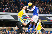 Trevoh Chlobah of Ipswich Town out jumps Will Vaulks of Rotherham United and heads for goal during Ipswich Town vs Rotherham United, Sky Bet EFL Championship Football at Portman Road on 12th January 2019