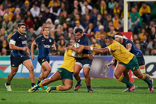 17.09.2016. Perth, Australia.  Agustín Creevy of the The Pumas (Argentina) is held up in a tackle during the Rugby Championship test match between the Australian Qantas Wallabies and Argentina's Los Pumas from NIB Stadium - Saturday 17th September 2016 in Perth, Australia.