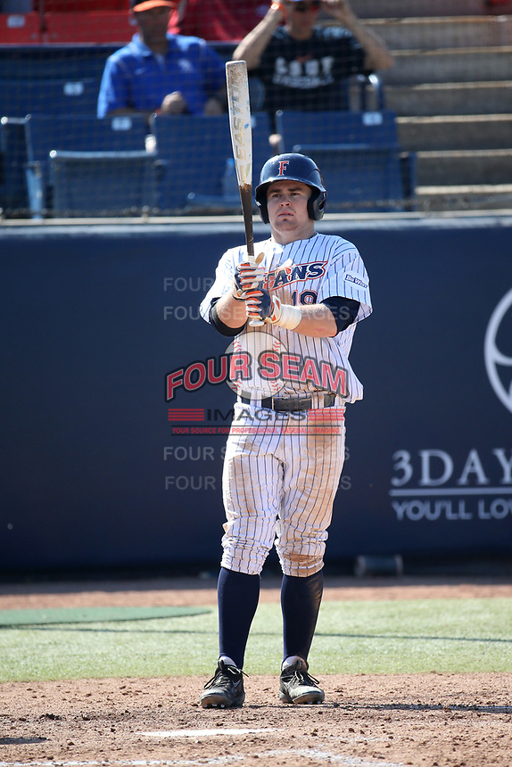 Dillon Persinger (19) of the Cal State Fullerton Titans bats against the Gonzaga Bulldogs at Goodwin Field on March 12, 2017 in Fullerton, California. Fullerton defeated Gonzaga, 3-2. (Larry Goren/Four Seam Images)