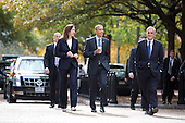 United States President Barack Obama, center, walks through Lafayette Park with White House Chief of Staff Dennis McDonough, right, and Legislative Affairs Director Katie Fallon, left, in Washington, DC Monday, October 26, 2015. The president was on his way to a luncheon at The Metropolitan Club with former US Senators Tom Daschle (Democrat of South Dakota) and George Mitchell (Republican of Maine).<br /> Credit: Martin H. Simon / Pool via CNP