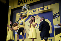 Stage 1 winner Mike Teunissen (NED/Jumbo-Visma) is the first yellow jersey wearer in the 2019 Tour de France<br /> <br /> Stage 1: Brussels to Brussels (BEL/192km) 106th Tour de France 2019 (2.UWT)<br /> <br /> ©kramon