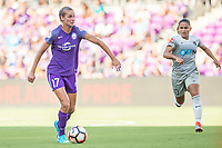 Orlando, FL - Sunday May 14, 2017: Dani Weatherholt, Debinha during a regular season National Women's Soccer League (NWSL) match between the Orlando Pride and the North Carolina Courage at Orlando City Stadium.