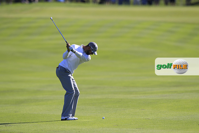 Alvaro Quiros (ESP) plays his 2nd shot on the 16th hole during Friday's Round 2 of the 2014 Irish Open held at Fota Island Resort, Cork, Ireland. 20th June 2014.<br /> Picture: Eoin Clarke www.golffile.ie