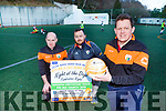 Pa Murphy Chairman of the Mid and East Kerry United soccer<br /> launchs their Night of the Dogs which will be held on Friday 8th March with l-r: Jerry Hayes and Liam Murphy