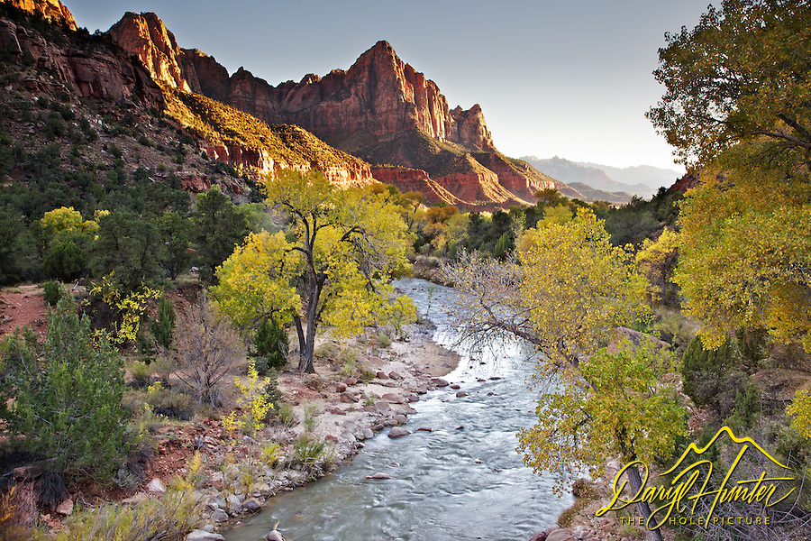 The Watchman, Virgin River, Fall Colors, Zion National Park