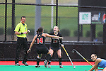 20 NOV 2011:  Katie Gerzabek (1) and Jill Witmer (10) of the University of Maryland celebrate the game winning goal against the University of North Carolina during the Division I Women's Field Hockey Championship held at Trager Stadium on the University of Louisville campus in Louisville, KY.  Maryland defeated North Carolina 3-2 in overtime to win the national title. Jonathan Palmer/ NCAA Photos