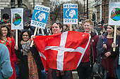 1 Day Without Us flag mob in Parliament Square London in support of migrants