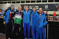 SPEEDSKATING: SALT LAKE CITY: 07-12-2017, Utah Olympic Oval, training ISU World Cup, Denis Yuskov (RUS), Koen Verweij (NED), Sergey Trofimov (RUS), Sergey Gryatzsov (RUS), Kosta Poltavets (trainer/coach RUS), ©photo Martin de Jong