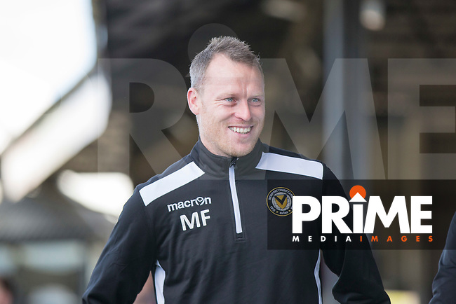 Newport County manager Mike Flynn ahead of the Sky Bet League 2 match between Newport County and Accrington Stanley at Rodney Parade, Newport, Wales on 22 April 2017. Photo by Mark  Hawkins.