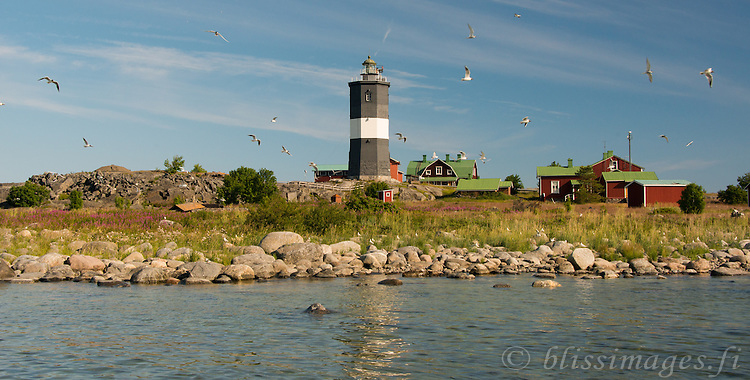 Norrskär Lighthouse with the gulls flying in the Gulf of Bothnia, about midway between Sweden and Finland
