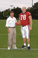 7 August 2006: Stanford Cardinal head coach Walt Harris and Jon Cochran during Stanford Football's Team Photo Day at Stanford Football's Practice Field in Stanford, CA.