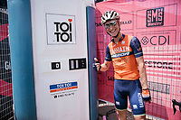 Enrico Gasparotto (ITA/Bahrain Merida) having some fun cueing at the lavatory unit at the stage start in the tiny birth town of Fausto Coppi: Castellania<br /> <br /> 100th Giro d'Italia 2017<br /> Stage 14: Castellania &rsaquo; Oropa (131km)