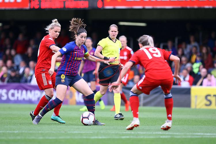 UEFA Women's Champions League 2018/2019.<br /> Semi Finals<br /> FC Barcelona vs FC Bayern Munchen: 1-0.<br /> Melanie Leupolz, Vicky Losada & Carina Wenninger.