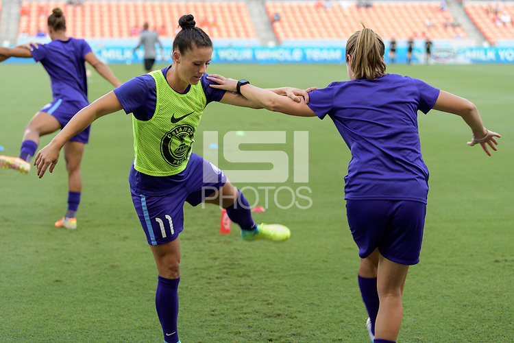 Houston, TX - Saturday June 17, 2017: Ali Krieger warming up during a regular season National Women's Soccer League (NWSL) match between the Houston Dash and the Orlando Pride at BBVA Compass Stadium.