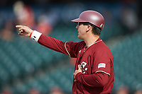 Boston College Eagles head coach Mike Gambino gives instructions on the field during the game against the North Carolina State Wolfpack in Game Two of the 2017 ACC Baseball Championship at Louisville Slugger Field on May 23, 2017 in Louisville, Kentucky. The Wolfpack defeated the Eagles 6-1. (Brian Westerholt/Four Seam Images)
