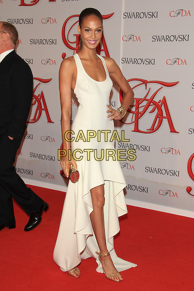 Joan Smalls.The 2012 CFDA Fashion Awards held at Alice Tully Hall - Lincoln Center, New York, NY, USA..June 4th, 2012 .full length white dress hand on hip.CAP/LNC/TOM.©LNC/Capital Pictures.