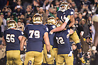 Nov. 14, 2015; Quarterback DeShone Kizer (14) celebrates a touchdown in the fourth quarter against Wake Forest. Notre Dame won 28-7. (Photo by Matt Cashore)