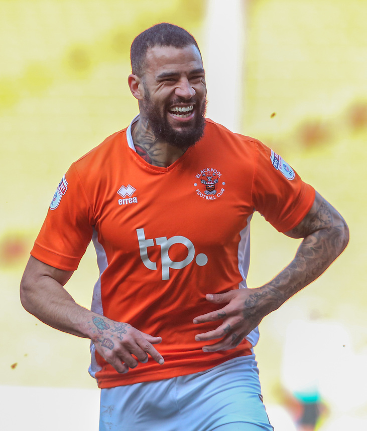 Blackpool's Kyle Vassell celebrates scoring his sides second goal <br /> <br /> Photographer Alex Dodd/CameraSport<br /> <br /> The EFL Sky Bet League Two - Blackpool v Hartlepool United - Saturday 25th March 2017 - Bloomfield Road - Blackpool<br /> <br /> World Copyright &copy; 2017 CameraSport. All rights reserved. 43 Linden Ave. Countesthorpe. Leicester. England. LE8 5PG - Tel: +44 (0) 116 277 4147 - admin@camerasport.com - www.camerasport.com