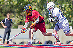 Los Angeles, CA 04/01/16 - Owen McNiff (Loyola Marymount #13) and Daniel Lammers (USC #7) in action during the University of Southern California and Loyola Marymount University SLC conference game  USC defeated LMU.