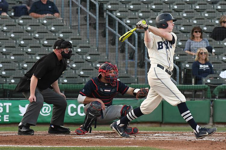 May 27, 2017; Stockton, CA, USA; BYU Cougars third baseman Nate Favero during the WCC Baseball Championship at Banner Island Ballpark.