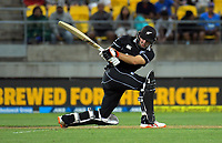 Tom Latham bats during the One Day International cricket match between NZ Black Caps and India at Westpac Stadium in Wellington, New Zealand on Sunday, 3 February 2019. Photo: Dave Lintott / lintottphoto.co.nz
