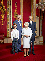 03/01/2020 - This new portrait of Queen Elizabeth II, Prince Charles Prince of Wales, Prince William Duke of Cambridge and Prince George has been released to mark the start of a new decade. This is only the second time such a portrait has been issued. The first was released in April 2016 to celebrate Her Majesty's 90th birthday. The portrait was then used on special commemorative stamps released by the Royal Mail. This new portrait was taken by the same photographer, Ranald Mackechnie, in the Throne Room at Buckingham Palace in London on Wednesday December 18, 2019. Photo Credit: ALPR/AdMedia