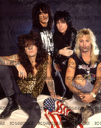 Motley Crue - L-R: Tommy Lee, Nikki Sixx, Mick Mars, Vince Neil - photosession in London UK - August 1989.  Photo credit: Ray Palmer Archive/IconicPix