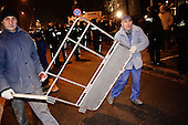 WARSAW, POLAND, December 21, 2016<br /> Removing the riot fence during Parliamentary crisis. Members of parliament from opposition parties PO (Civic Platform) and Nowoczesna (Modern) are occupying the plenary hall of the Sejm (Polish parliament), since 16-th december. On the right - Grzegorz Schetyna, head of PO.<br /> The opposition objects to government plans to drastically limit the number of journalists allowed to cover parliamentary proceedings. The opposition MPs' protest delayed a budget 2017 vote, which was later held away from the main parliament chamber and is now considered unlawful, which sparks further protest.<br /> (Photo by Piotr Malecki / Napo Images)<br /> ****<br /> WARSZAWA, 21.12.2016. <br /> Usuwanie plotu przed sejmem.<br /> Kryzys sejmowy. Poslowie opozycji z partii PO i Nowoczesna pozostaja w sali planarnej Sejmu,  nie opuszczajac jej od szesciu dni i planuja pozostanie do nastepnego posiedzenia 11 stycznia. Jest to dzialanie w obronie wolnosci mediow i przeciwko uchwaleniu budzetu przez partie rzadzaca w innej sali, bez obecnosci poslow opozycji. <br /> Fot. Piotr Malecki / Napo Images<br /> <br /> ###ZDJECIE MOZE BYC UZYTE W KONTEKSCIE NIEOBRAZAJACYM OSOB PRZEDSTAWIONYCH NA FOTOGRAFII### ### Cena zdjecia w/g cennika FORUM plus 50% (cena minimalna 100 PLN)